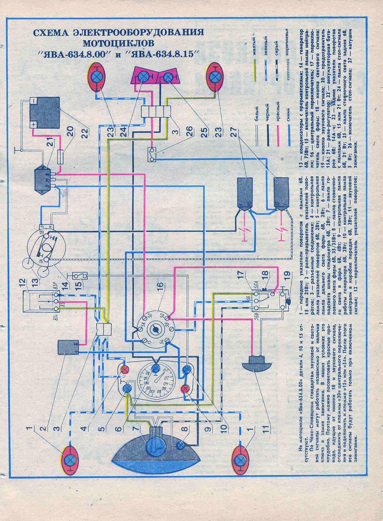 схема проводки на яву 350 12v