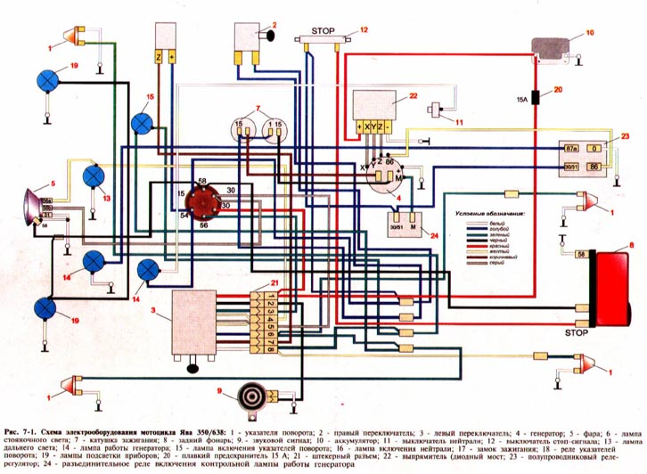 Схема проводки на ява 638 12 вольт
