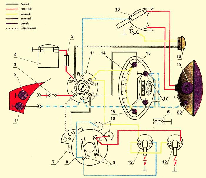 Схема подключения замок зажигания ява 638